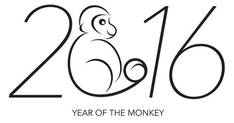 2016 Year of the Monkey Numerals Line Art Vector Illustration