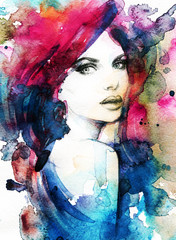 Poster Portrait Aquarelle Woman face. Hand painted fashion illustration