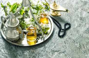 Islamic holidays decoration. Ramadan kareem. Tea tableware