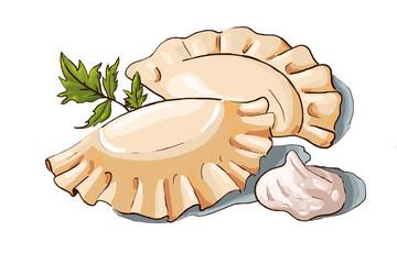 Vector illustration of a couple dumplings, sour cream and parsley. Ukrainian cuisine