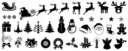 Xmas Vector Set Reindeer Angel Snowman Santa Claus Elf Hand