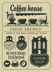banner with a set of retro coffee