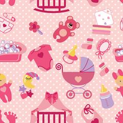 Newborn Baby girl seamless pattern.Polka dot