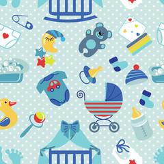 Newborn Baby boy seamless pattern.Polka dot