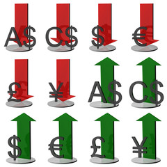 3D currency symbols and arrows