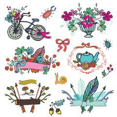 Doodle floral group,hand sketch vintage element set