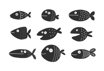 Fish set silhouettes, vector illustration