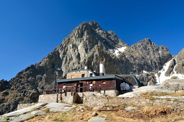 TATRA MOUNTAINS, SLOVAKIA - MAY 19, 2013: Mountain chalet. High-mountain hostel called Teryho Chata in the valley of the Five Spis Lakes in Tatra mountains, Slovakia.