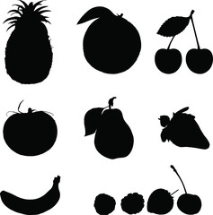 Fruits silhouette vector