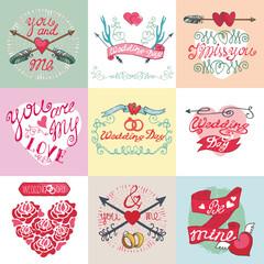 Wedding card set.Emblems,Labels,decorative elements
