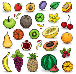 Colorful hand drawn fruit set