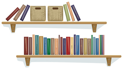 Shelf with books and boxes on them