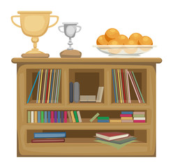 Shelf unit, with book, and trophies, fruit on top