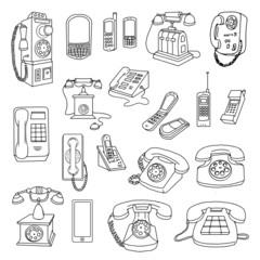 Vintage Phones, and modern Phones, hand drawn set
