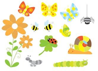 bugs, snail - vector isolated cartoon characters