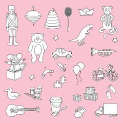 Set of various toys