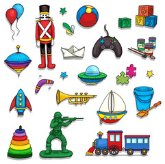Collorful set of various toys