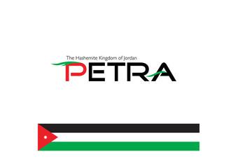 calligraphy of Petra with Jordan flag