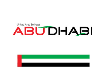 Abu Dhabi calligraphy with Emirates flag colors