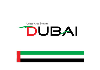 Dubai calligraphy with Emirates flag colors