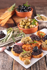 canape with tapenade and olive