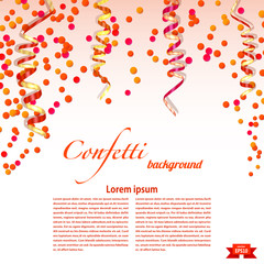 Bright festive background with confetti and streamers. Elements