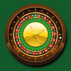 Roulette wheel with french numbering sequence. Vector illustration on green background.