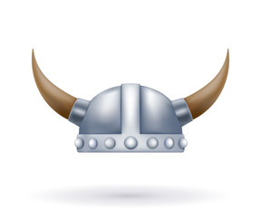 Metal viking helmet with horns on a white background. Vector ill