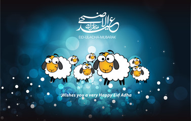 Eid adha Mubarak greeting card with blue background and Arabic calligraphy with  comic sheep