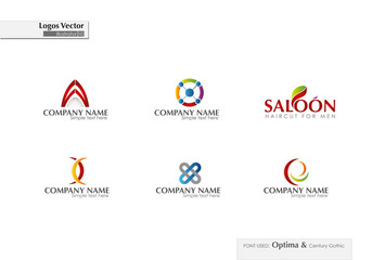 selection of vector logos on white background