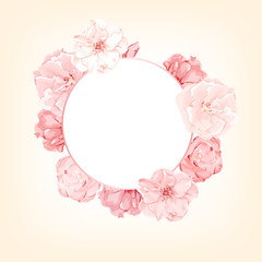 Vector pink floral circle frame