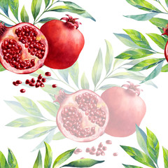 A seamless pomegranate pattern on white background.