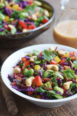 Asian slaw salad with red cabbage, kale, fava beans, cashew and cilantro