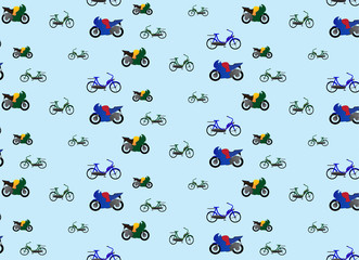motorcycles and bicycles for use wallpapers and pattern