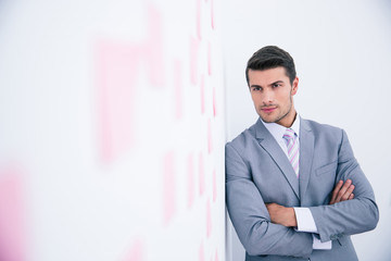 Businessman with arms folded leaning on the wall
