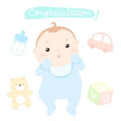 congratulation new little baby boy vector