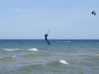 kitesurfing on Baltic sea waves