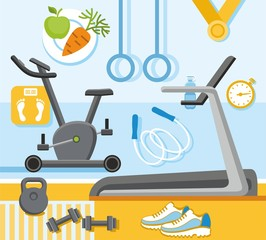 Fitness, gym, colored, flat illustration.