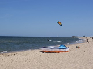 kitesurfer and Baltic sea beach near Wladyslawowo
