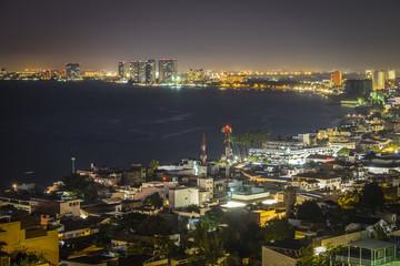 Mexico, Puerto Vallarta, Banderas Bay by night
