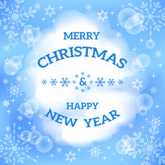 Christmas greeting card. Winter light  background.