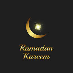 Ramadan Kareem background, islam symbol golden moon and shiny star