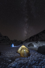 Nepal, Khumbu, Everest region, the milky way and tent from high camp on Pokalde peak at night