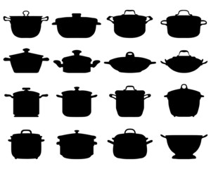 Black silhouettes of pots and pans