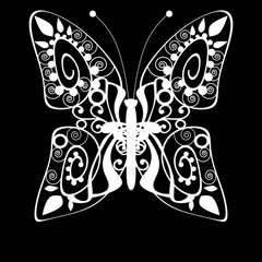 Butterfly monochrome white silhouette background