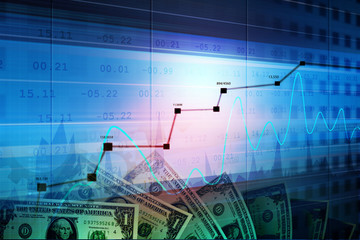 Monetary concept and market analysing graph