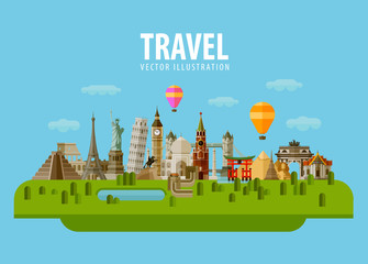 travel, vacation, journey. vector. flat illustration