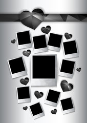 Vector photo frames with black hearts