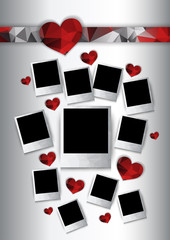 Vector photo frames with red hearts