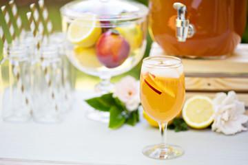 Peach lemonade on the drink station